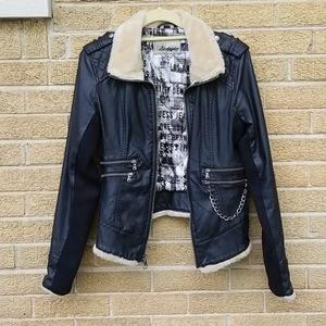 Faux Leather and Fur Guess Jacket